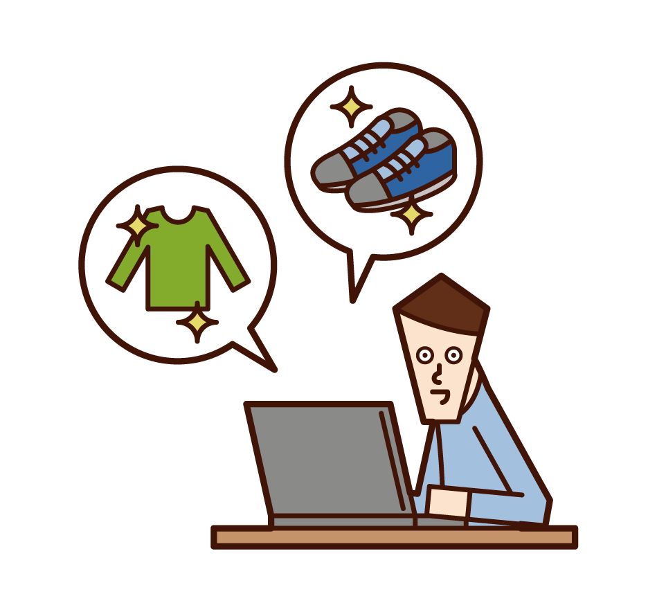 Illustration of a person (man) shopping online