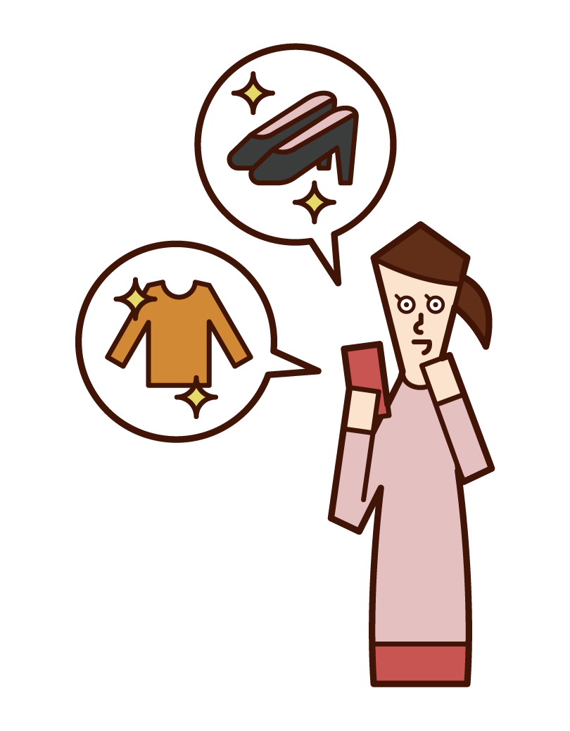 Illustration of a woman shopping online