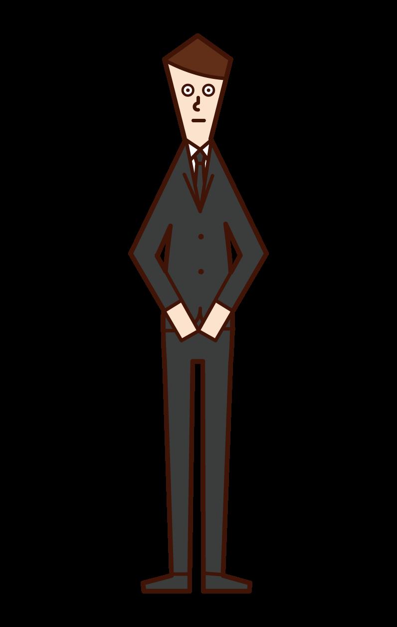 喪服姿の人(男性)のイラスト