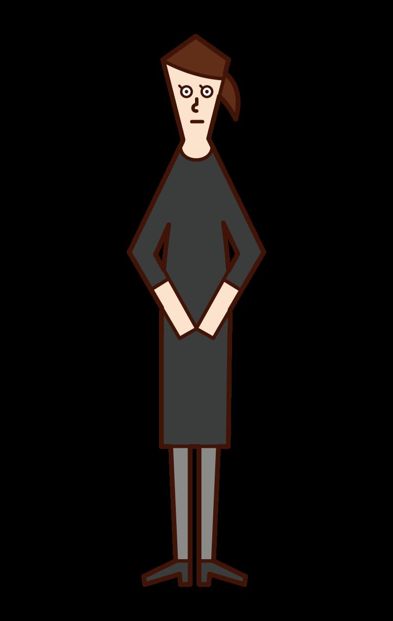 喪服姿の人(女性)のイラスト