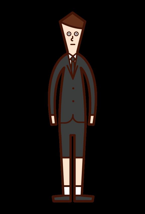 喪服姿の子供(男子)のイラスト