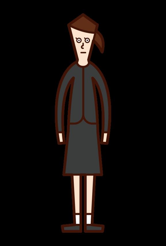 喪服姿の子供(女子)のイラスト