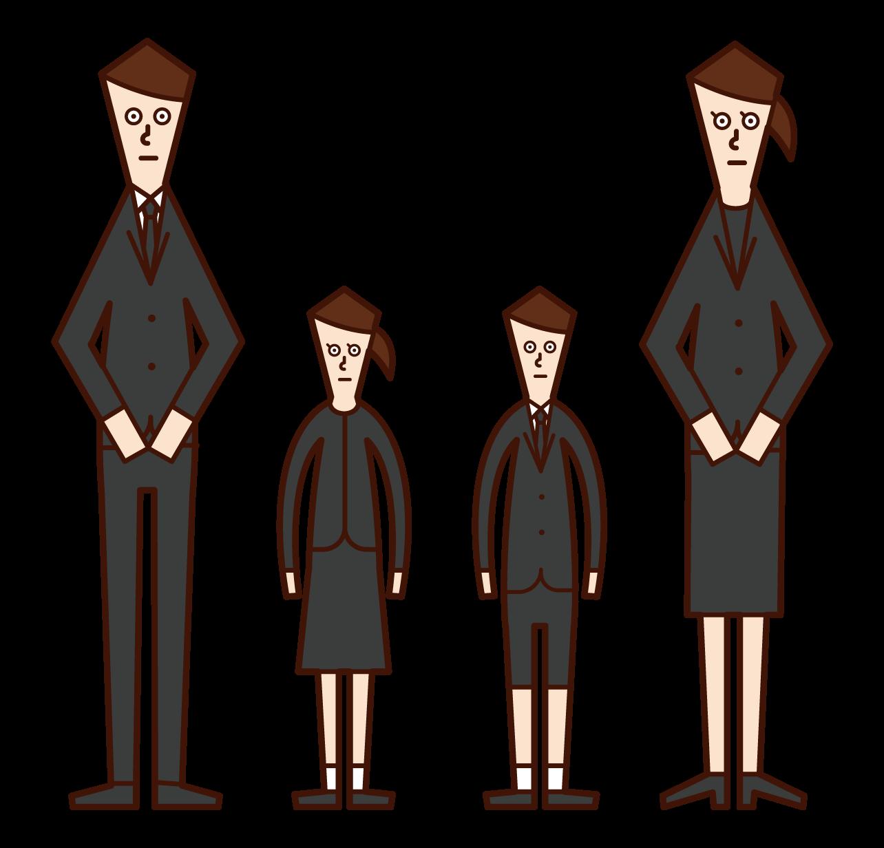 喪服姿の家族のイラスト
