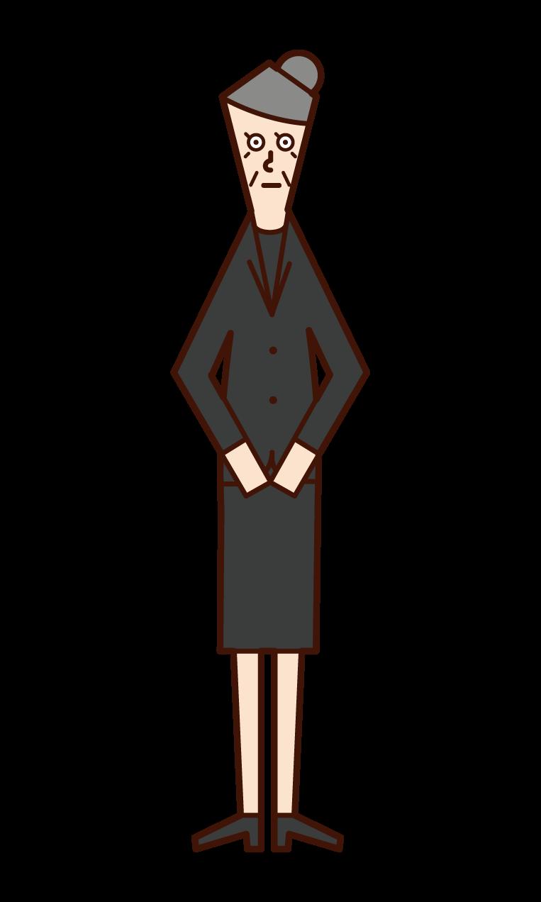 喪服姿の人(おばあさん)のイラスト
