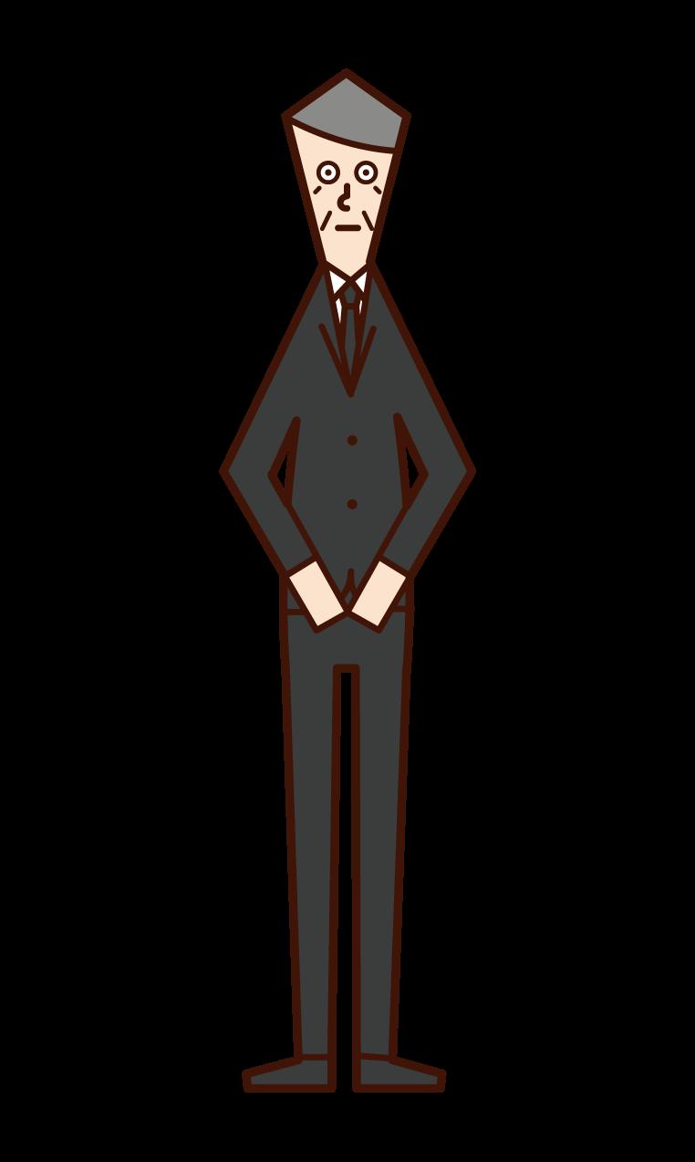 喪服姿の人(おじいさん)のイラスト