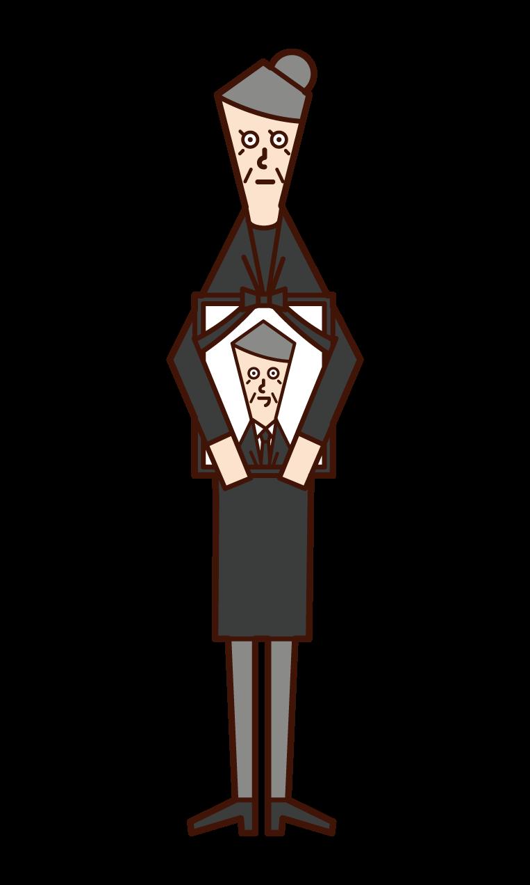 遺影を持つ人(おばあさん)のイラスト