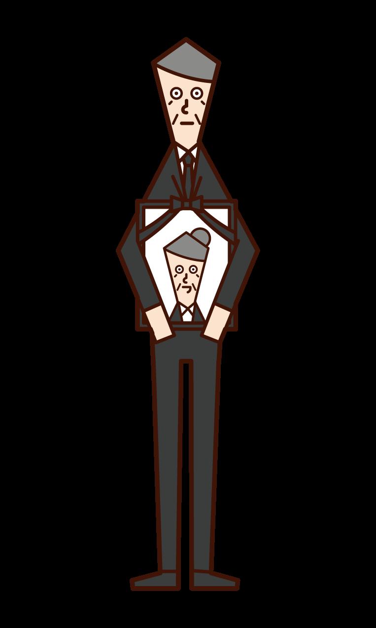 遺影を持つ人(おじいさん)のイラスト