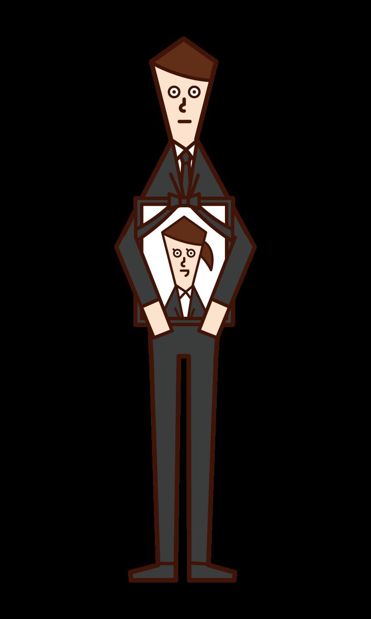 遺影を持つ人(男性)のイラスト