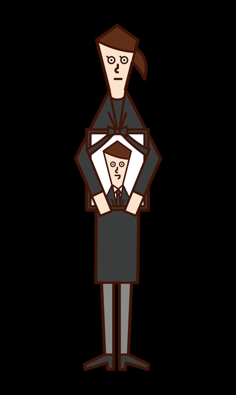 遺影を持つ人(女性)のイラスト