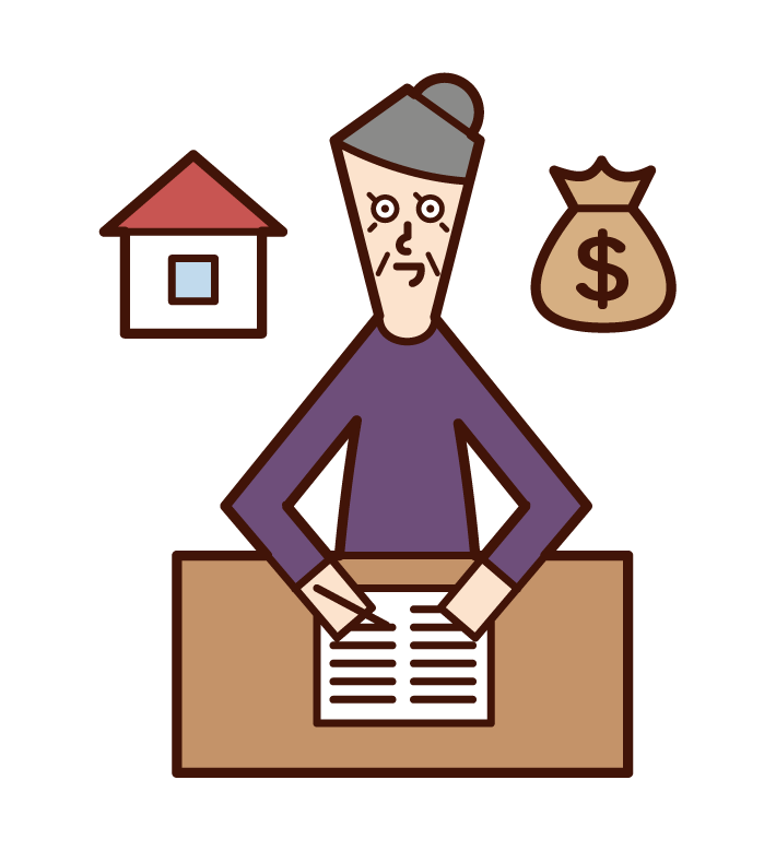Illustration of an old man who writes a will