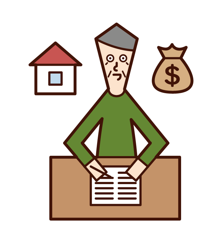 Illustration of a will-writing person (old man)