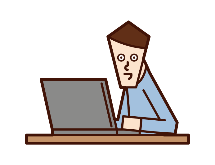 Illustration of a man who is into a computer