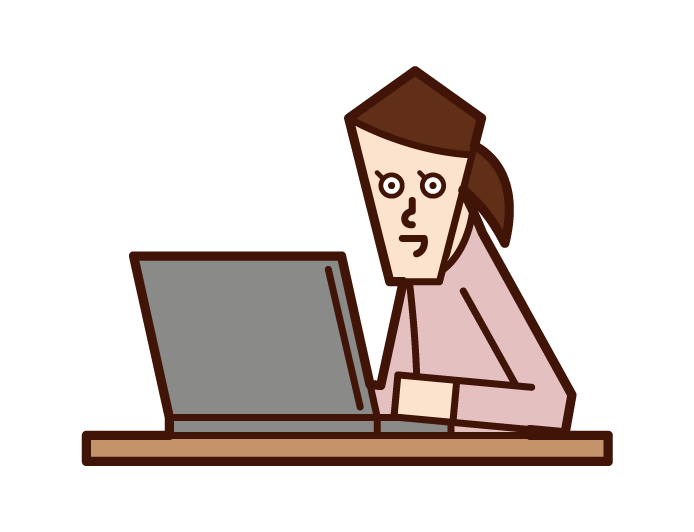 Illustration of a woman who is into a computer