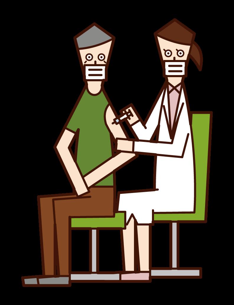 接種疫苗的人(爺爺)的插圖