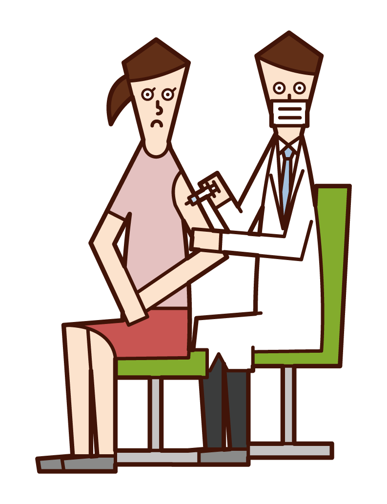Illustration of a person (woman) who is vaccinating