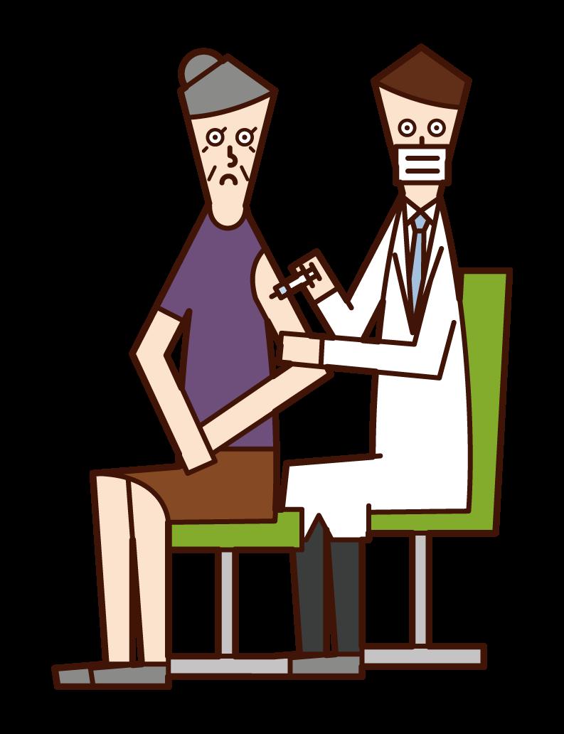 接種疫苗的人(祖母)的插圖