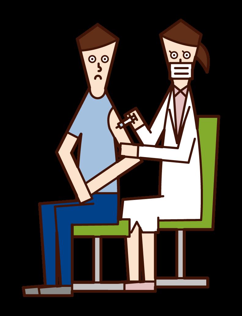 接種疫苗的人(男性)的插圖