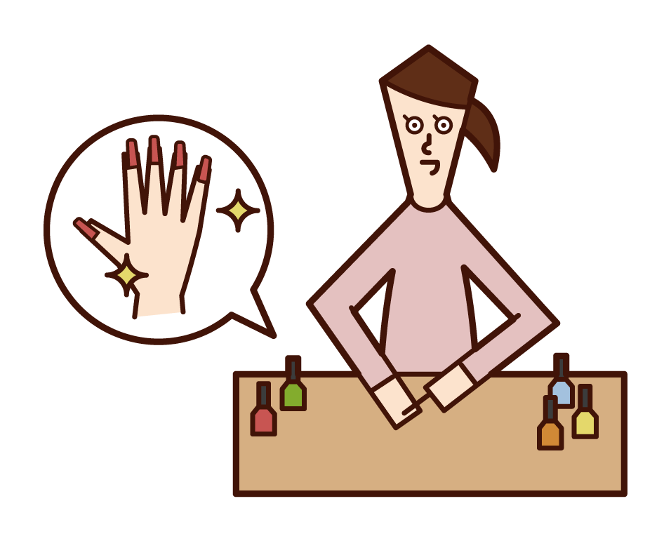 Illustration of a woman applying a manicure