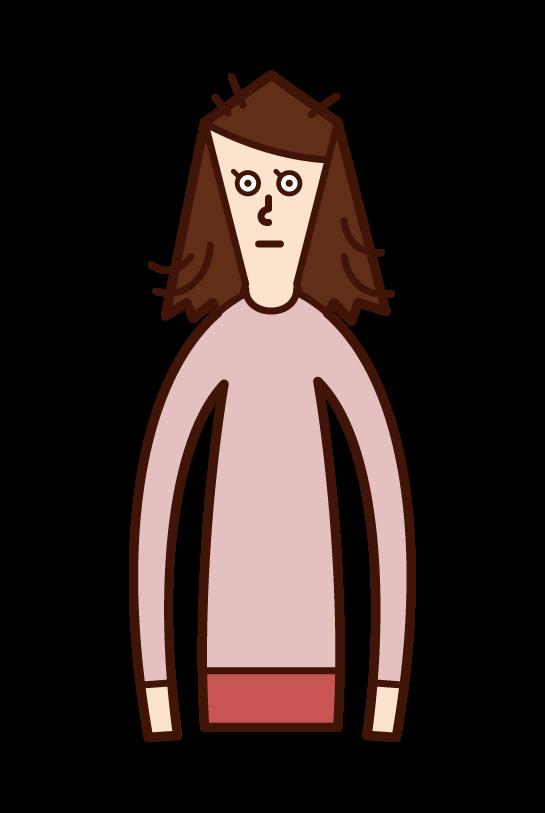 寝癖(女性)のイラスト