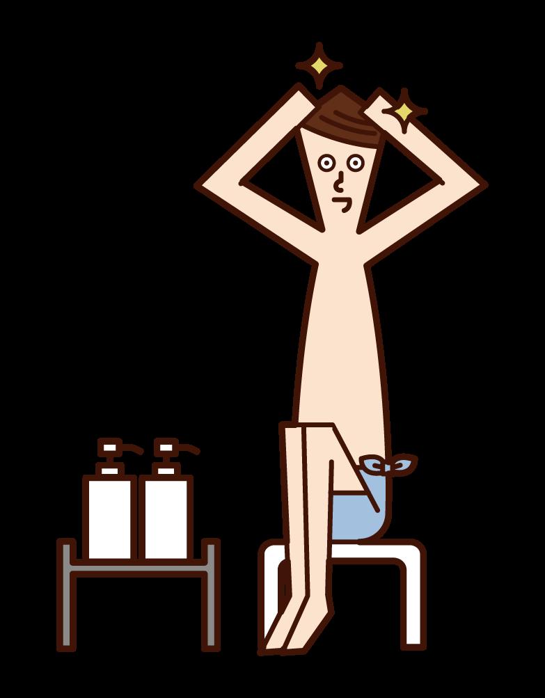 머리카락을 치료하는 사람 (남성)의 그림