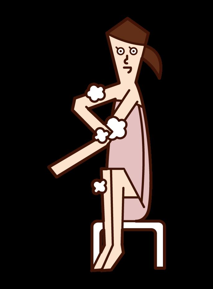 身体を洗う人(女性)のイラスト