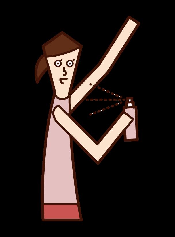 制汗スプレーを使う人(女性)のイラスト