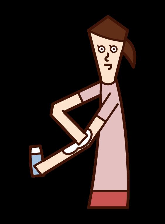 塗防曬霜的人(女性)的插圖