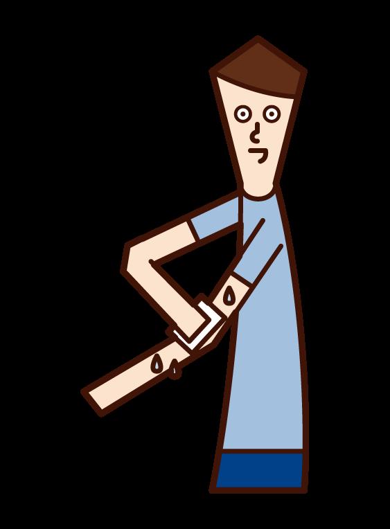 制汗シートを使う人(男性)のイラスト