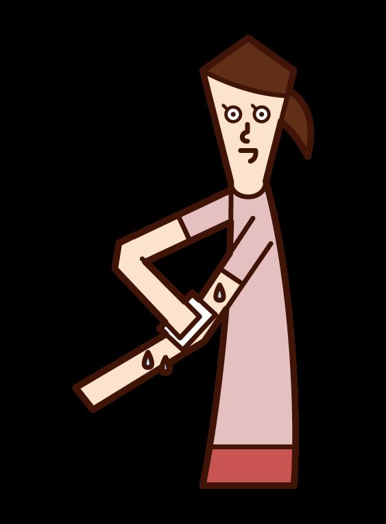 制汗シートを使う人(女性)のイラスト