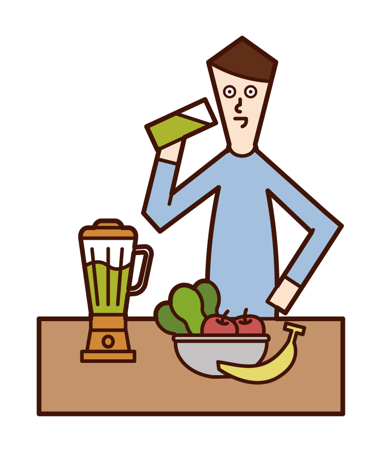 Illustration of a smoothie drinker (male)
