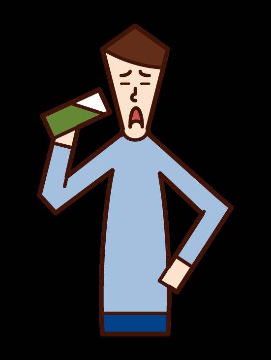 Illustration of a man drinking green juice