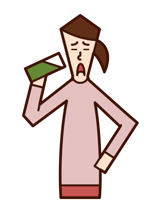 Illustration of a woman drinking green juice