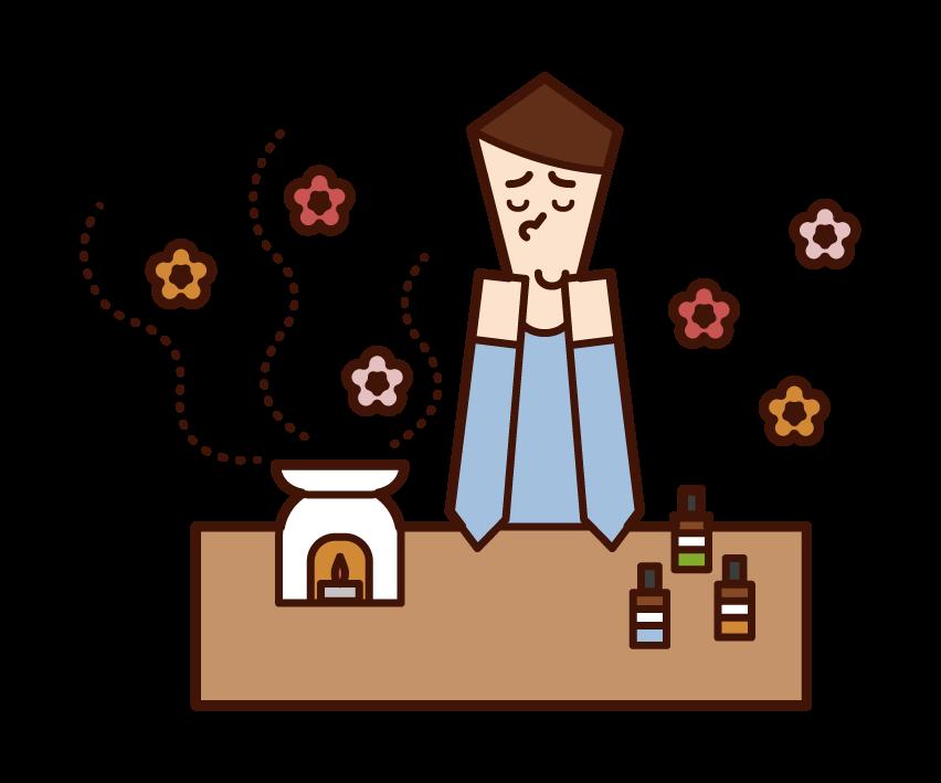 アロマセラピーをする人(男性)のイラスト