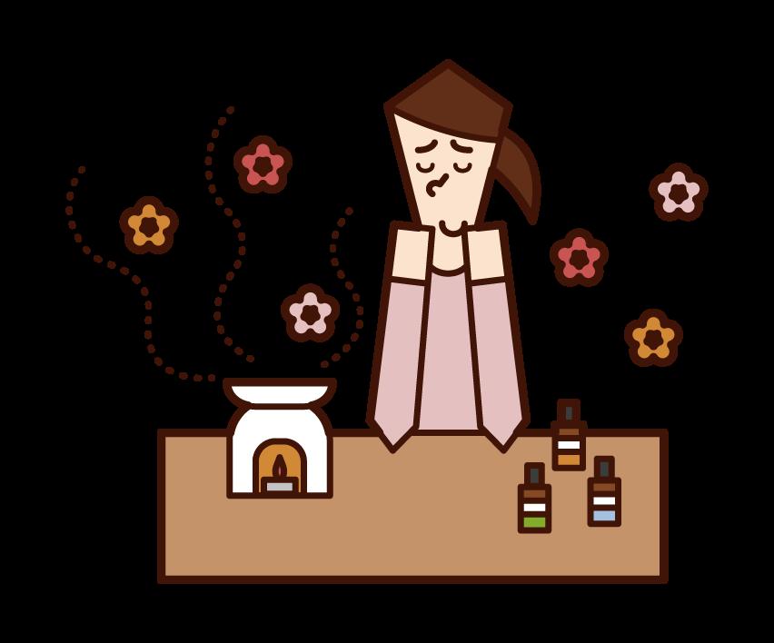 アロマセラピーをする人(女性)のイラスト