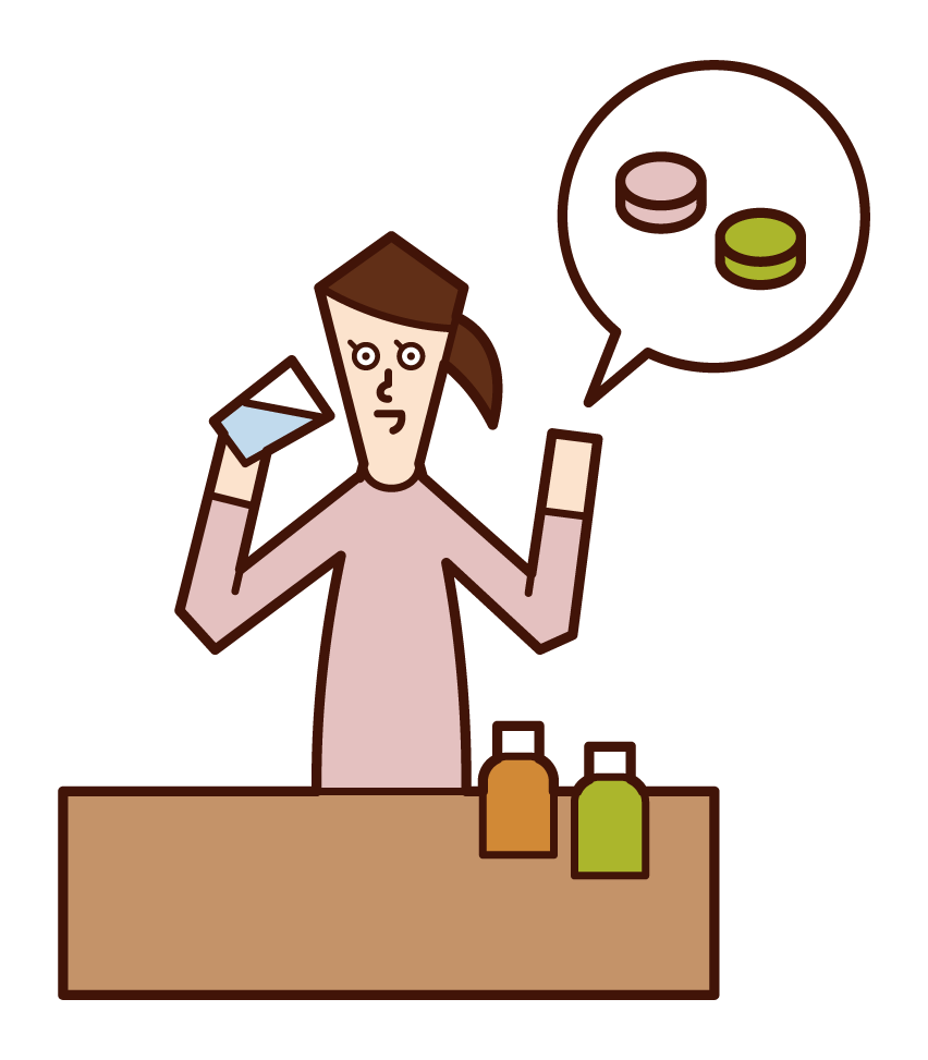 Illustration of a woman who drinks supplements