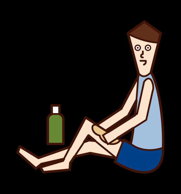 オイルマッサージをする人(男性)のイラスト