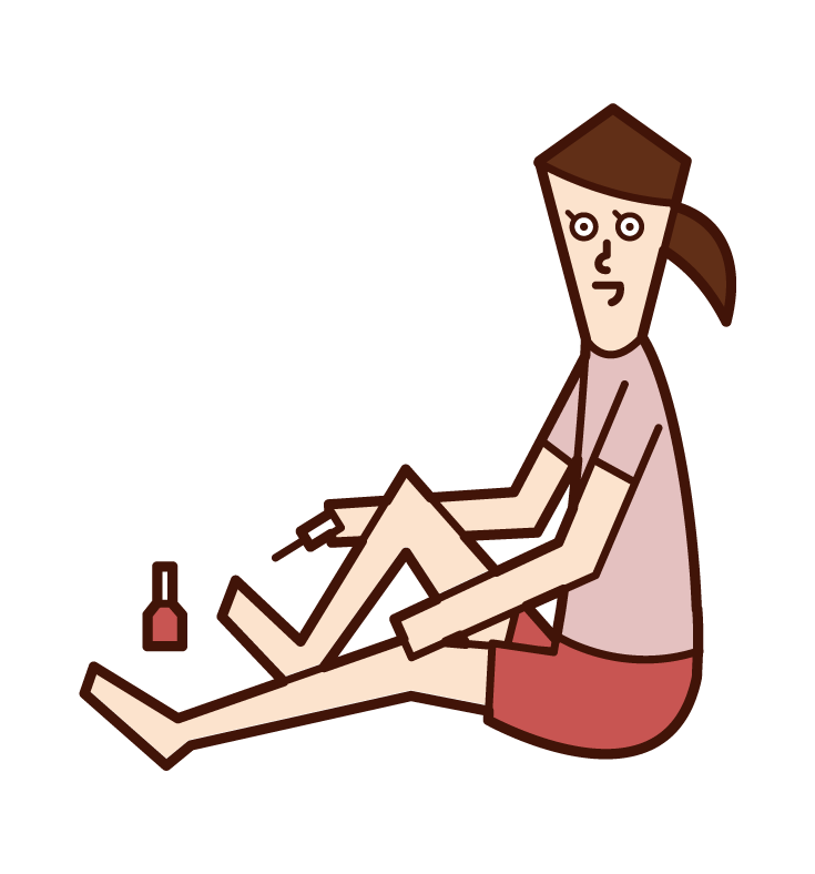 Illustration of a person (woman) who paints a pedicure
