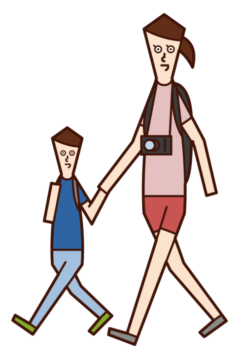 父母和孩子享受旅行的插圖