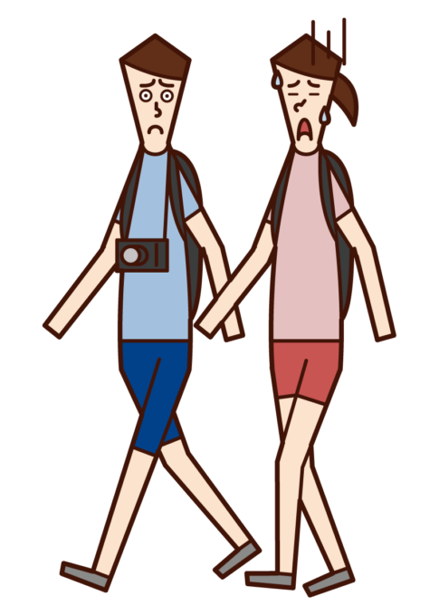 피곤한 걷는 사람 (여성)의 그림