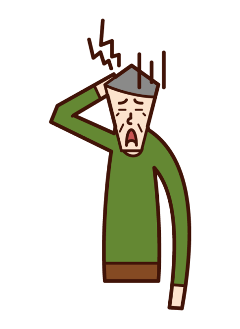 Illustration of a headache person (old man)