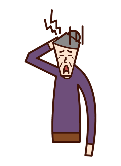 Illustration of a headache person (grandmother)