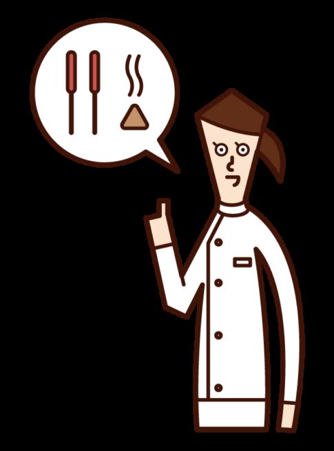 針灸師(女性)的插圖