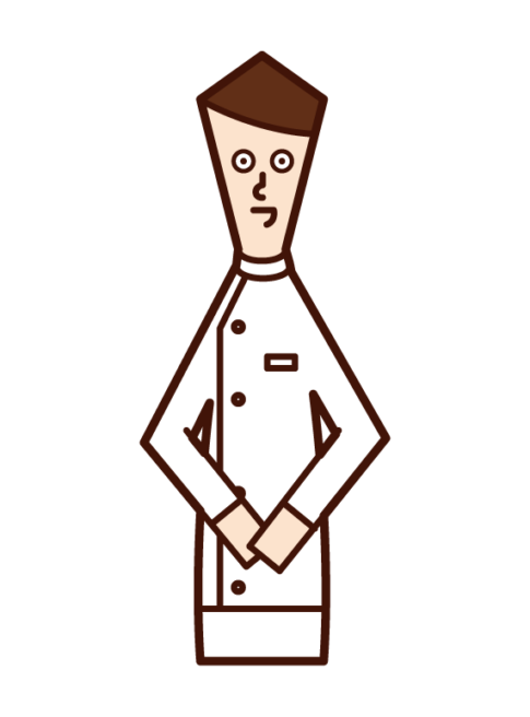 Illustration of a man in a white coat