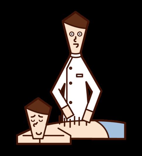 針灸師(男性)的插圖