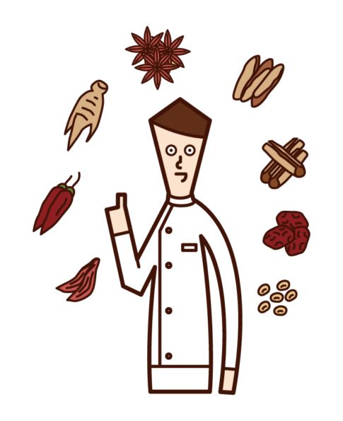 Illustration of a pharmacist (male) certified as a herbal medicine and herbal medicine