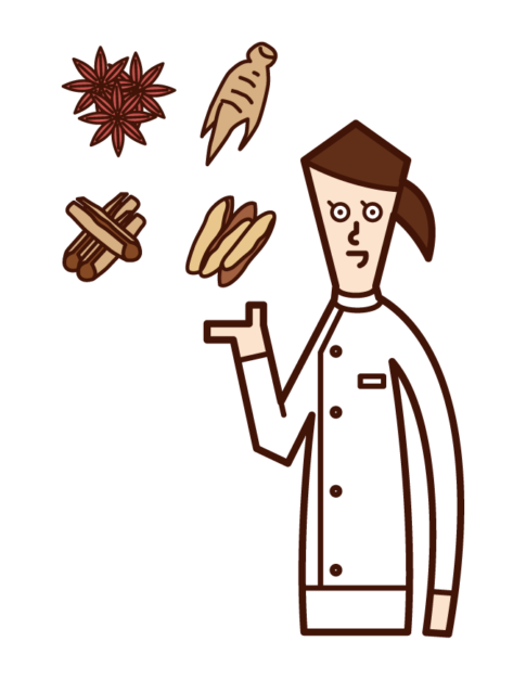 Illustration of a pharmacist (female) certified as a herbal medicine and herbal medicine