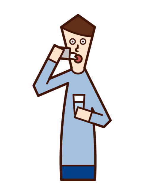 Illustration of a man who drinks medicine