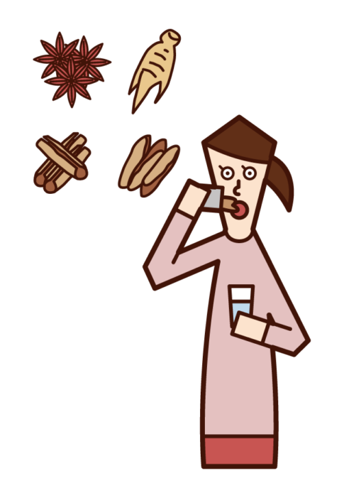Illustration of a woman who drinks Chinese medicine