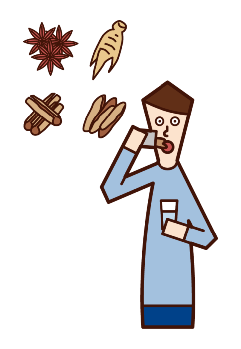 Illustration of a man who drinks Chinese medicine