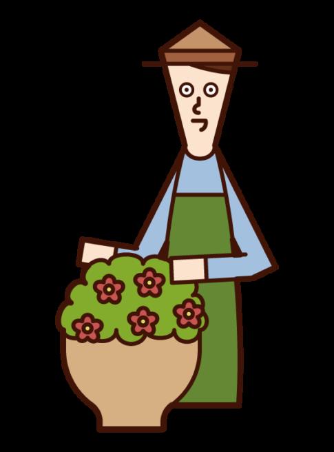 お花の手入れをする人(男性)のイラスト